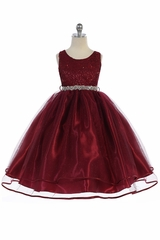 Audrey Bean Burgundy Flower Lace w/ Sequins Glitter Mesh Skirt & Belt