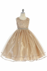 Audrey Bean Champagne Flower Lace w/ Sequins Glitter Mesh Skirt & Belt