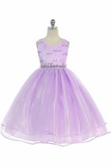 Audrey Bean Lilac Flower Lace w/ Sequins Glitter Mesh Skirt & Belt