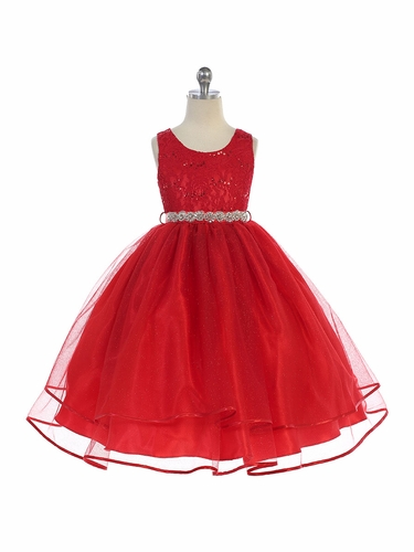 Audrey Bean Red Flower Lace w/ Sequins Glitter Mesh Skirt & Belt
