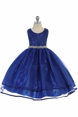Audrey Bean Royal Blue Flower Lace w/ Sequins Glitter Mesh Skirt & Belt