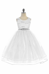 Audrey Bean White Flower Lace w/ Sequins Glitter Mesh Skirt & Belt