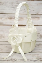 B.B. World GBK117 Ivory Rose Satin Basket w/ Rhinestones