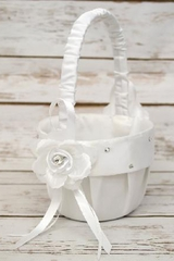 B.B. World GBK117 White Rose Satin Basket w/ Rhinestones