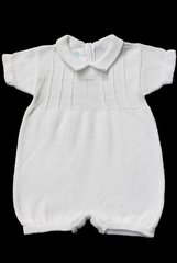 Baby's Trousseau 942 White Romper w/ Trim Cross