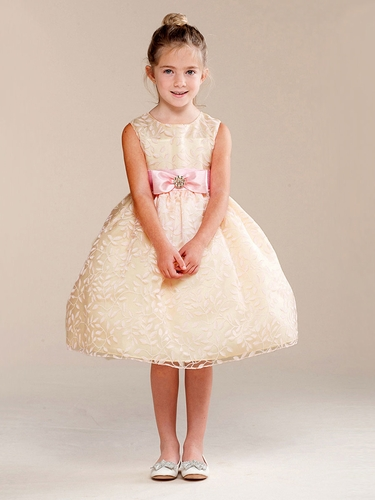 Banana Bow Brooch Accent Flower Girl Dress