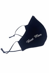 Best Man White Embroidered Face Shaped Mask
