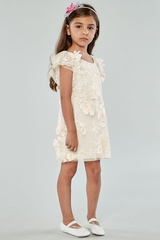 Biscotti 100 Ivory Blooming Romance Flutter Sleeve Dress