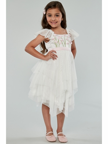 Biscotti 106 Ivory Spring Gardens Embroidered Bodice Dress