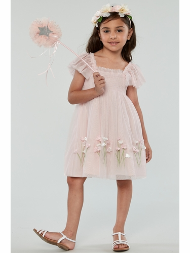 Biscotti 107 Pink Spring Gardens Embroidered Tulle w/ Smocked Bodice