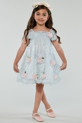 FINAL SALE- Biscotti 133 Blue Spring Gardens Embroidered Lace w/ Smocked Bodice
