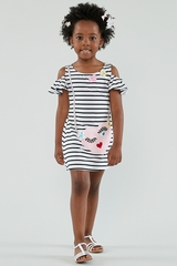 Biscotti 136 Face Time Striped Dress w/ Heart Applique