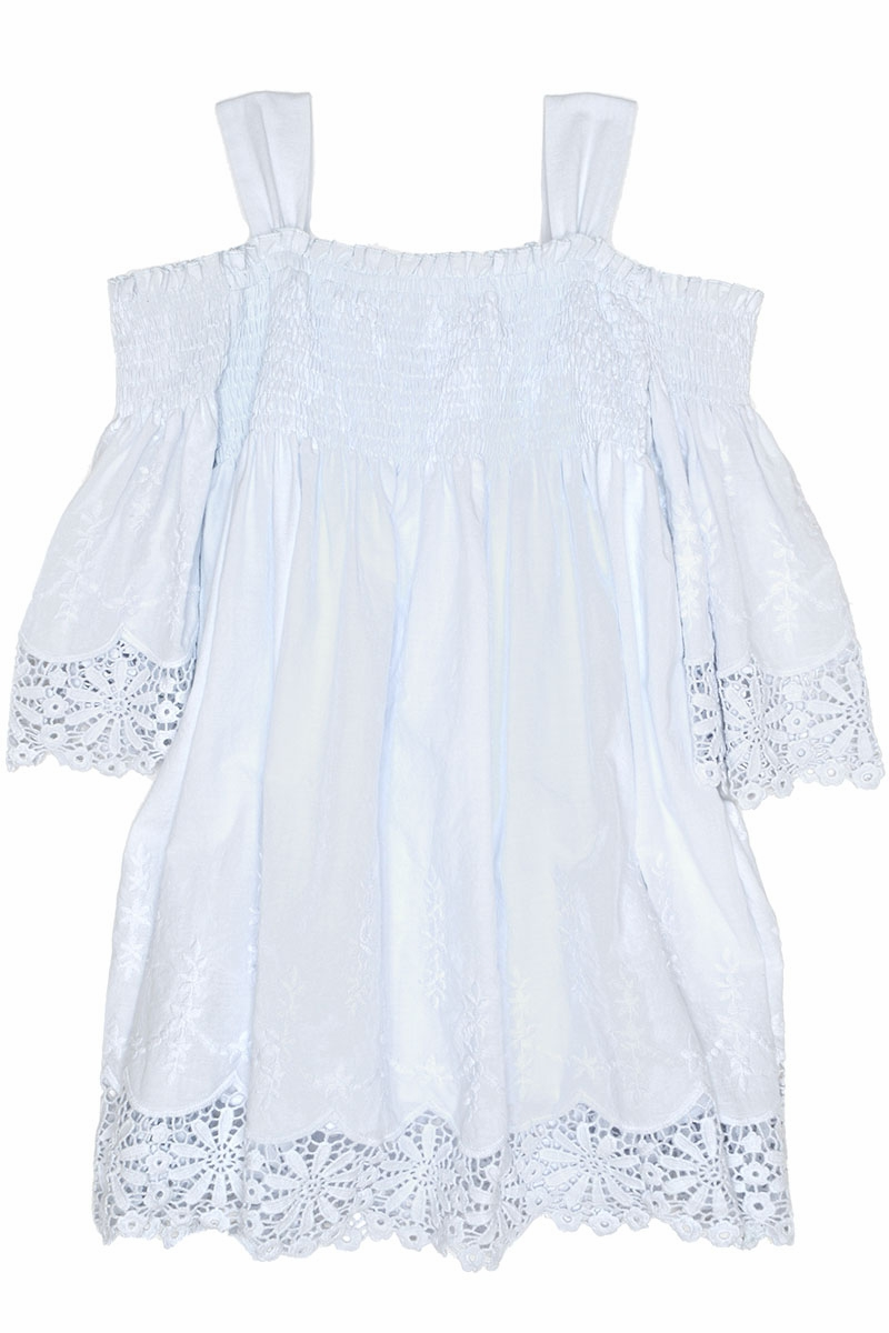 Biscotti 139 Blue Embroidered Elegance Smocked Bodice Off The