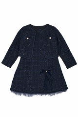 Biscotti Navy Plaid Boucle Dress w/ Jacket