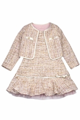 Biscotti Pink Metallic Plaid Boucle Dress w/ Jacket