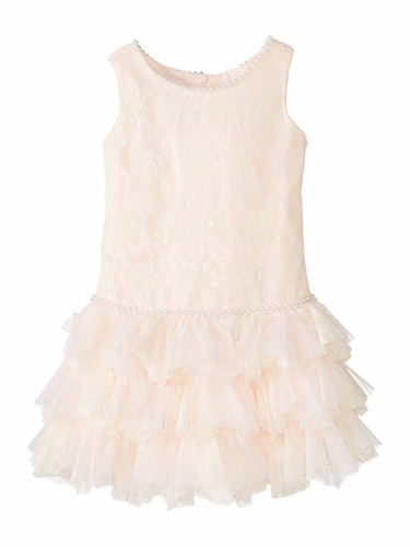 Biscotti Pink Shimmery Lace Dress w/ Pearl Detailing