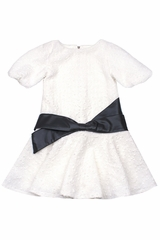 Biscotti White Dress w/ Black Front Sash