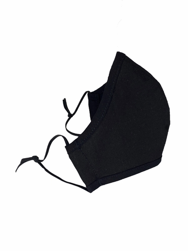 Black 100% 2-Ply Cotton Face Shaped Mask