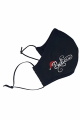 Black 100% 2-Ply Cotton Face Shaped Mask with White Embroidered Believe