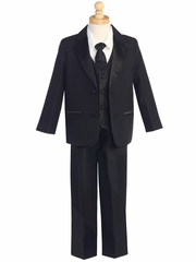 Black 5 Piece Two Button Tuxedo