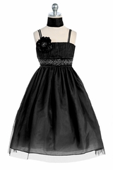 Black Beaded Belt Mesh Dress
