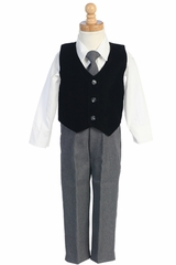 Black/Grey Velvet Vest w/Pants