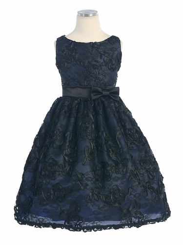 Black/Navy Satin Ribbon Applique Lace Dress