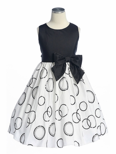 Black Sequence Polka-Dot Embroidered Taffeta Dress
