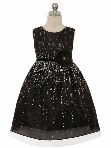 Black Sequin Holiday Dress w/ Velvet Flower Sash