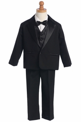 Black Tuxedo w/ Any Color Vest & Clip-On Bowtie