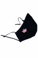 Black w/ Pink Embroidered crown 100% 2-Ply Cotton Face Shaped Mask