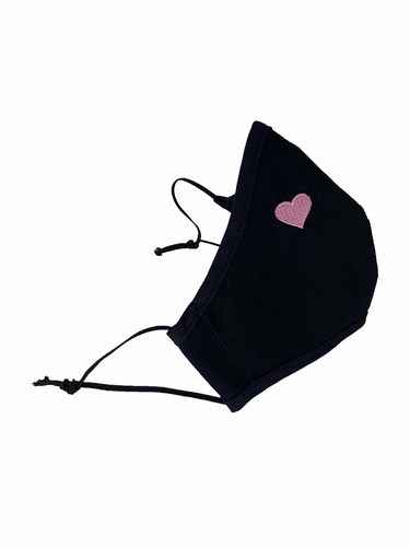 Black w/ Pink Embroidered Heart 100% 2-Ply Cotton Face Shaped Mask