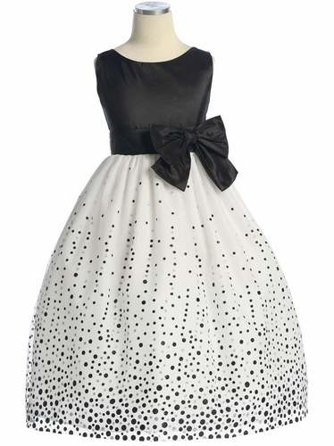 Black/White Glitter Flocked Mesh/Taffeta Dress