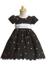 Black/White Taffeta Polka Dot Dress
