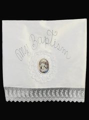 Blossom B-101 White Christening Blanket w/ Lace Trim