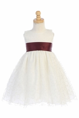 Blossom BL241A Ivory Glitter Tulle Dress w/ Satin Sash & Bow