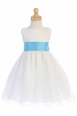 Blossom BL241A White Glitter Tulle Dress w/ Satin Sash & Bow