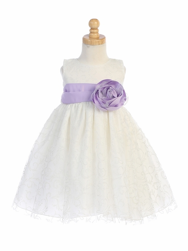 Blossom BL241B Ivory Glitter Tulle Dress w/ Satin Sash & Flower