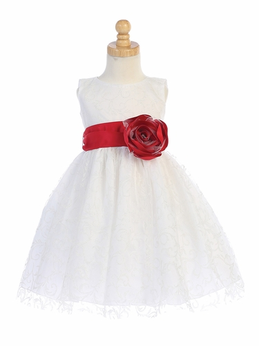Blossom BL241B White Glitter Tulle Dress w/ Satin Sash & Flower