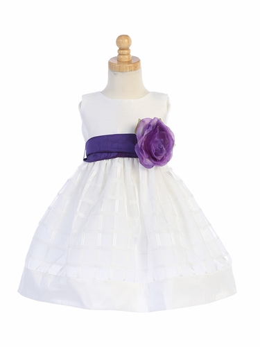 Blossom BL242B  White Poly Silk & Organza Plaid w/ Flower Sash