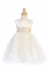 Blossom BL243A Ivory Satin & Crystal Organza Dress w/ Satin Sash & Bow