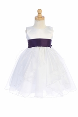 Blossom BL243A White Satin & Crystal Organza Dress w/ Satin Sash & Bow