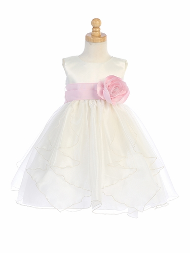 Blossom BL243B Ivory Satin & Crystal Organza Dress w/ Satin Sash & Flower