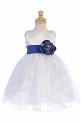 Blossom BL243B White Satin & Crystal Organza Dress w/ Satin Sash & Flower