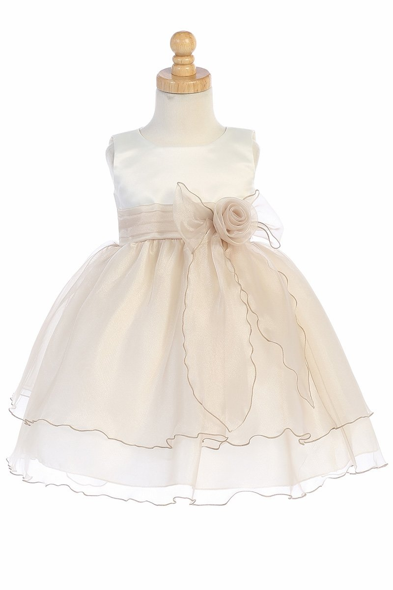 095e88c28e2 Home   Girl s Dresses   Flower Girl Dresses   Blossom BL244 Ivory    Champagne Satin Bodice w  Crystal Organza Skirt. Click to Enlarge ...