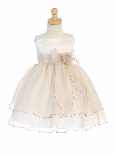 Blossom BL244 Ivory & Champagne Satin Bodice w/ Crystal Organza Skirt