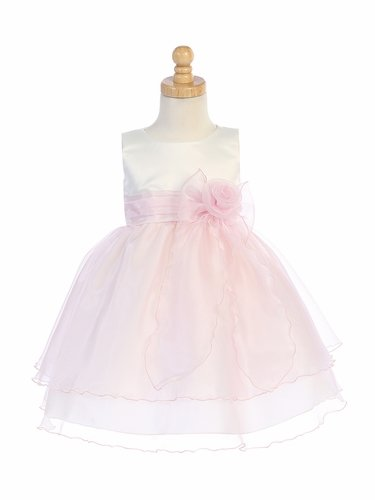 Blossom BL244 Ivory & Pink Satin Bodice w/ Crystal Organza Skirt