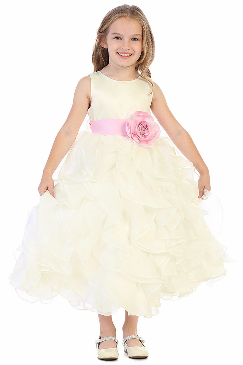 6af644d9fed ... Layered Flower Girl Dress w  Satin Flower Sash. Click to Enlarge ...