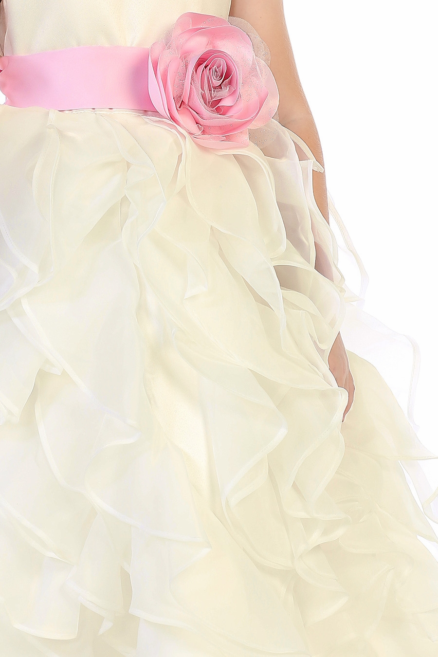 c3b8f55eb08 ... Click to Enlarge Click to Enlarge Click to Enlarge. Blossom BL305 Ivory Layered  Flower Girl Dress w  Satin Flower Sash
