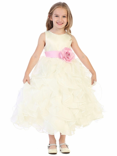 Blossom BL305 Ivory Layered Flower Girl Dress w/ Satin Flower Sash